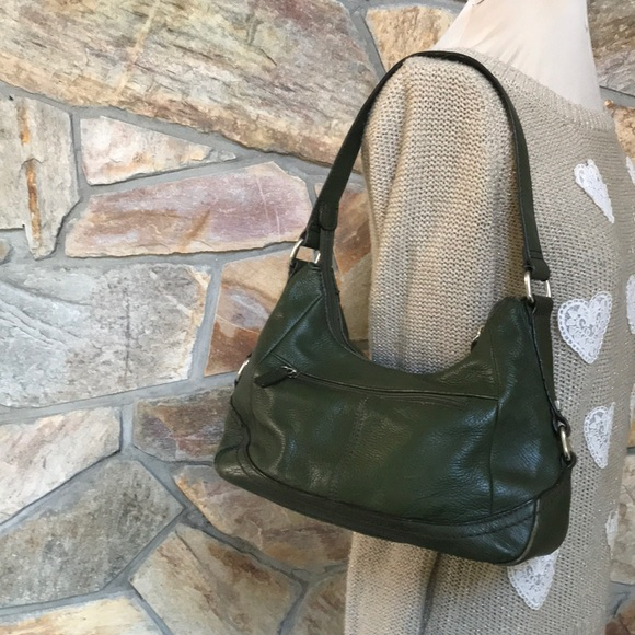 St. John's Bay Handbags - St Jones Bay dark green leather hand/ shoulder bag